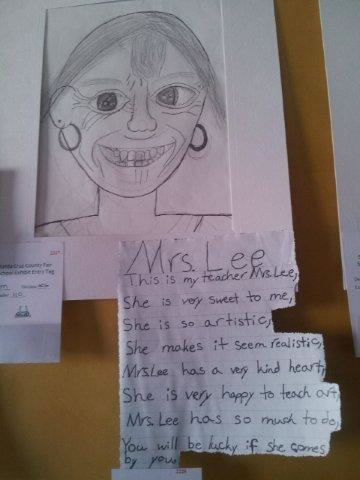 Student drawing of their teacher, Mrs. Lee.